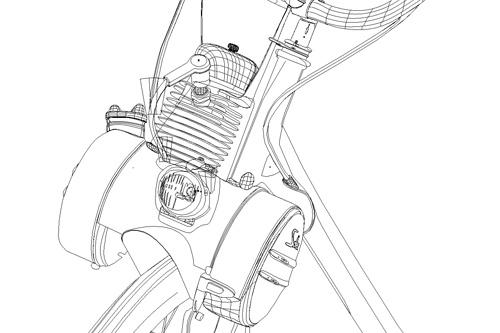 Close-up filaire du moteur du Solex